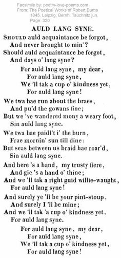 Auld Lang Syne Robert Burns (Burns' Night, ladies and gents! Scottish Quotes, Jock, Robert Burns, Glasgow, Happy New Year, Wales, Feelings, My Love, Burns Supper
