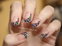 Bright colors + print + french manicure = this awesome nail art!
