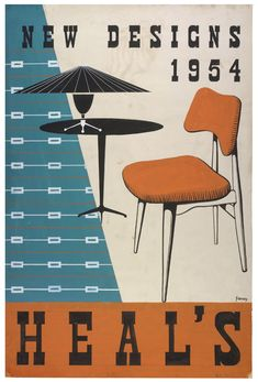 Vintage Furniture Heals celebrates 200 years - Leading interior trends and styling for the home Vintage Graphic Design, Graphic Design Inspiration, Vintage Designs, Graphic Art, 1950s Design, Retro Design, Pop Design, Flyer Design, Vintage Advertisements