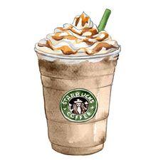 Starbucks Caramel Frappuccino - Wall Decor - Kitchen Art Print - Watercolor Illustration