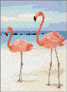 Cross Stitch | Flamingos xstitch Chart | Design