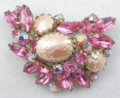 Regency Pink Rhinestone Brooch - Garden Party Collection Vintage Jewelry