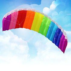 2016 Nuevo Poder Caliente Dual Line Truco Parafoil Paracaídas Del Arco Iris deportes de Playa Kite con 2 unids 30 m Líneas de Vuelo de Nylon Para principiante(China (Mainland))