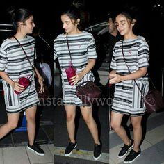 """""""Alia Bhatt is just cuteness overloaded as she arrives at the airport.  Her look is so relaxed and casual that it is just stylish be default. . The shoes,…"""""""