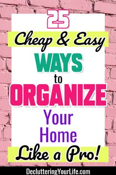 Inexpensive home organization ideas - organizing your house on a budget - cheap DIY home organization hacks - how to organize random stuff in your home - 25 ways to organize everything on a budget - learn how to clean a cluttered house fast Deep Cleaning Tips, House Cleaning Tips, Spring Cleaning, Cleaning Hacks, Speed Cleaning, Organizing Hacks, Home Organization Hacks, Organizing Your Home, Organizing Clutter