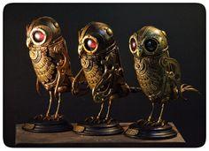 Buhos mecanicos del Proyecto Bestiarium. de La Mathomería. Steampunk Owl.