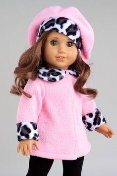 Elegance - American Girl Doll Pink Winter Coat, Hat, Black Pants, Sherpa Boots   eBay