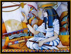Goddess Neith and her weaving loom