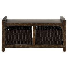 Birch bench with two lower baskets.   Product: BenchConstruction: Wood and rattanFeatures: Two ba...