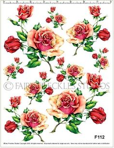 Item F112 Shabby Cottage Tea Rose Decals