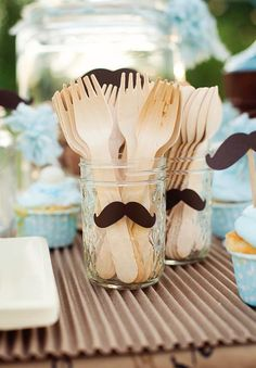 Little Man/Mister + Mustache Baby Shower Birthday Party Planning jars on utensils look cute with mustaches Moustache Party, Mustache Theme, Mustache Birthday, Baby Birthday, Birthday Ideas, Mustache Crafts, Little Man Birthday Party Ideas, Princess Birthday, Baby Party