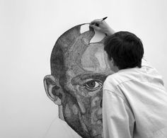 """Illusion: Jacob Everett's drawings are based from photographs, and he uses a grid method on paper and then concentrates on one section at a time. """"I produce large-scale portraits using an intricate technique of overlapping elliptical marks, which gradually build to represent the subtle contours of the face."""" [1]  http://illusion.scene360.com/art/43793/ballpoint-pen-drawings/"""