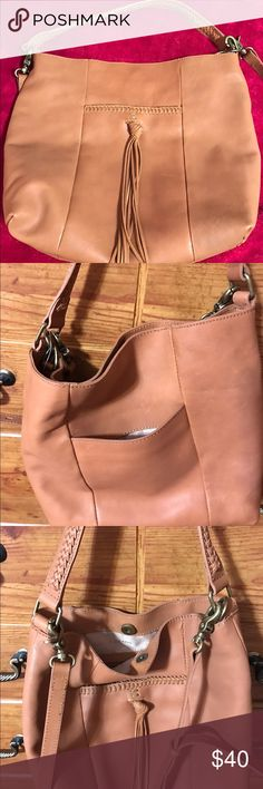 Lucky Brand leather hobo crossbody Beautiful light tan leather handbag...exterior pockets with snap closure.  Shorter strap can be worn on shoulder or carried in arm and long strap to wear as crossbody Lucky Brand Bags Crossbody Bags