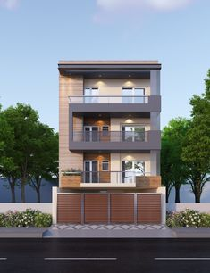 Kohat Enclave Project, Pitampura, New Delhi Home Facade concept developed by our Architects for one of our projects in Pitampura, New Delhi. The project is on a 180 sq. yards plot and has a Stilt + 3 Floors with configuration on each floor. Narrow House Designs, Modern Exterior House Designs, Small House Exteriors, Dream House Exterior, Cool House Designs, Exterior Design, Minimal House Design, Modern Small House Design, 3 Storey House Design