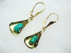 Vintage 18k Gold Earrings Turquoise Earrings 18k by BelmarJewelers