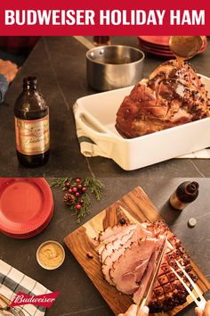 Our recipe for glazed ham puts a new spin on a classic holiday dish — by adding the new Budweiser 1933 Repeal Reserve. To make this beer glaze, combine the Amber Lager, brown sugar, ground mustard, and ground allspice into a saucepan until it thickens. Then baste the ham every 15 minutes until it reaches 140°F. The trick to making sure the ham soaks in all the flavor is to score a diamond pattern across the outside and press a clover into the center. Thanksgiving dinner will never be the…