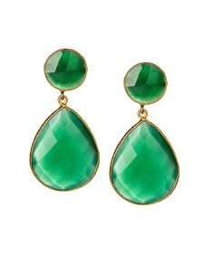 Another great find on #zulily! Green Onyx & Gold Drop Earrings #zulilyfinds