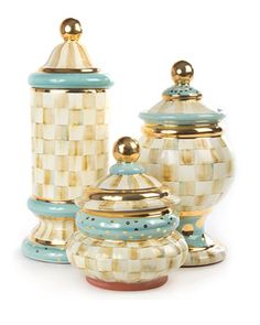 Parchment Check Canisters by MacKenzie-Childs at Horchow.