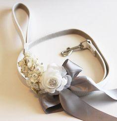 Silver wedding, dog Leash, Wedding accessory, High quality Leather, Silver wedding accessory, Dog Leash