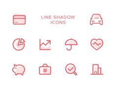 Line shadow icons