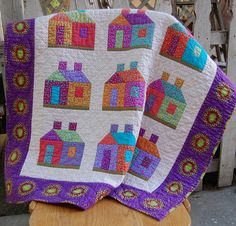 Bright Colorful House Quilt by sunbury on Etsy
