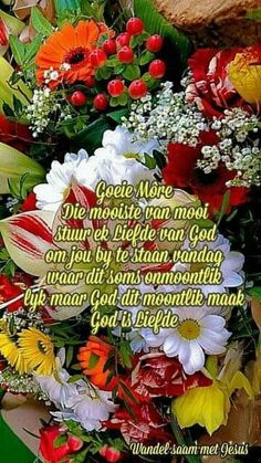 Good Morning Wishes, Good Morning Quotes, Goeie Nag, Goeie More, Afrikaans Quotes, Morning Greeting, Christmas Wreaths, Floral Wreath, Holiday Decor