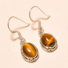 92.5% SOLID STERLING SILVER DESIGNER TIGER EYE NICE GIFTED EARRING 2.60 CM #Handmade