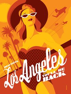 """""""Los Angeles""""  Retro travel posters inspired by '80s pop culture  by illustrators Tom Whalen and Dave Perillo.  #vintage_posters  #travel_posters"""