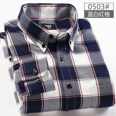 2017 spring plaid shirt male long-sleeved shirt plus size youth office business casual shirt men