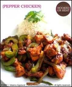 Recipe for Pepper Chicken taken from www.hookedonheat.com