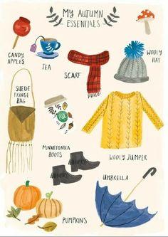 My Autumn Essentials – Lisa Barlow (Milk & Honey). Autumn Inspiration, Mode Inspiration, Wooly Jumper, Autumn Illustration, Watercolor Illustration, Hello Autumn, Happy Fall, Illustrations, Graphic