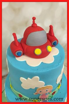 Close up pic of rocket for my little Einsteins cake.                                                                                                                                                     More