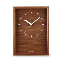 Lemnos/電波時計 oblong clock L ブラウン 21000yen 存在感のあるウォールナット材の箱型クロック