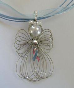 Pink & Blue Awareness Ribbon Infant Loss Premature Birth Angel Necklace Handmade