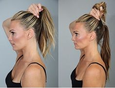 There's a couple reasons why I LOVE a good ponytail. Supermodel Molly Sims shares her secret. DOUBLE UP! 1.Place one ponytail diagonally from the top of your ear and section off the top half of your hair. 2.Bring the top section down and tie it into the bottom section. 3.BAM. Instant facelift.AND notice how much longer the ponytail is on the right!  4.Perfect for date night. 5.Sleek + elegant. 6.You can add wisps at your hair line to give it a messy feel.