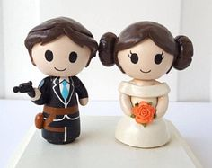 Star Wars Han Solo & Princess Leia Figurine Wedding Cake Topper w/ customizable Bride and Groom! Made to Order!