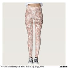 Modern faux rose gold floral mandala hand drawn leggings