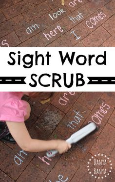 Early literacy 'Sight Word Scrub' game for kids - making homework hands-on and fun! ~ Danya Banya