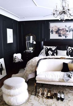 black and white modern master bedroom decoration idea