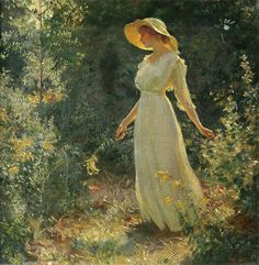 Charles Courtney Curran Woman in a white dress in a garden