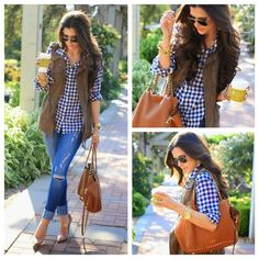 Navy Blue Gingham Oxford | J. Crew The classic J. Crew navy blue gingham button down worn by countless bloggers (The Sweetest Thing pictured above). Excellent condition. Worn twice. 100% cotton. Needs to be ironed. Necklace not included. J. Crew Tops Button Down Shirts