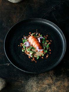 Seafood, pork, mint, wisteria   Chef Shannon Bennett // photo: Harvard Wang // via The Art of Plating