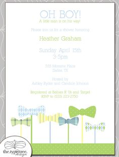 Bow Tie Baby Shower Invitation - DIY Printable PDF File what if for the don't say baby game we had people wear bow ties