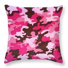 "Pink Camo Throw Pillow 14"" x 14"" by Todd and candice Dailey"