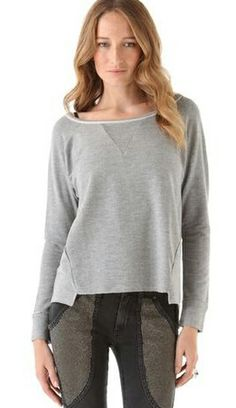 Long-sleeved round neck gray T-shirt 752,nice