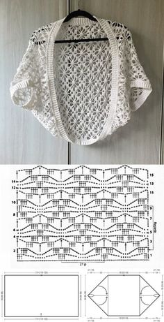 10 modelos de blusa de crochê com gráfico do ponto ⋆ De Frente Para O Mar - Crochet Gilet Crochet, Crochet Cardigan Pattern, Crochet Jacket, Crochet Stitches Patterns, Crochet Blouse, Crochet Scarves, Crochet Clothes, Knitting Patterns, Bolero Crochet