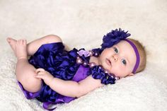 Solid Color Satin Rompers for baby girl-Purple-Blue-Baby Pink & Green