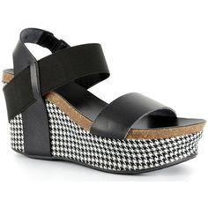 Take a look at this Black Houndstooth Strappy Wedge Sandal - Women today! Platform Wedges Shoes, Wedge Shoes, Shoes Sandals, Black Sandals, Black Shoes, Vegan Sandals, Stylish Sandals, Leather Wedges, Pu Leather