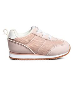 Powder pink. Sneakers in mesh and faux leather with elastic laces at front and a loop at back. Mesh lining and insoles. Fluted rubber soles.