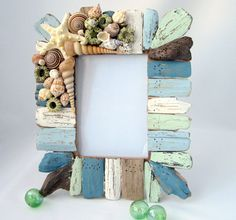 Beach Decor Driftwood & Seashell Frame - Nautical Decor Shell Frame, Green / Blue